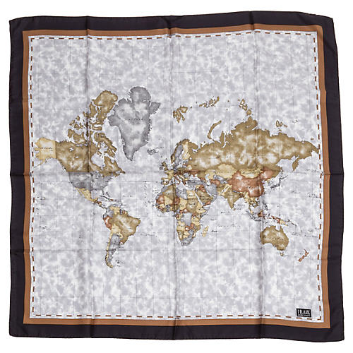 Alviero Martini Blue & Brown Map Scarf
