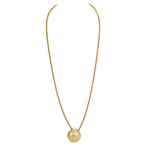 Dior Round Rhinestone Pendant Necklace