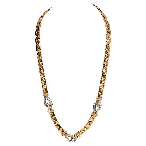 Ciner Gold Rhinestone Link Necklace