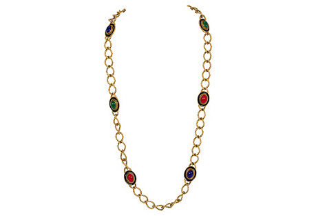YSL Braided Multicolor Stones Necklace