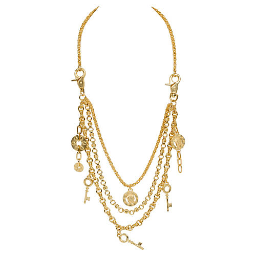 Lagerfeld Three-Tier Charm Necklace