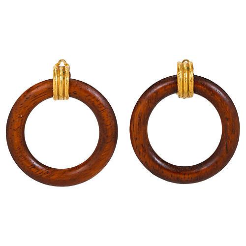 Chanel Detachable Wood Hoop Earrings