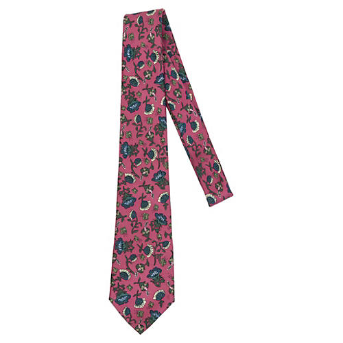 Hermès Pink & Blue Flowers Silk Tie