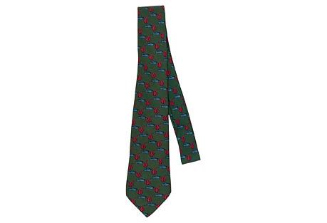 Hermès Imperial Fish Green Silk Tie