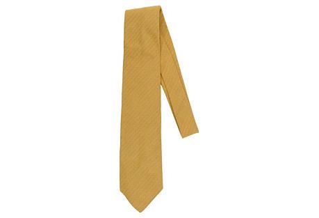 Hermès Mustard Twill Design Tie