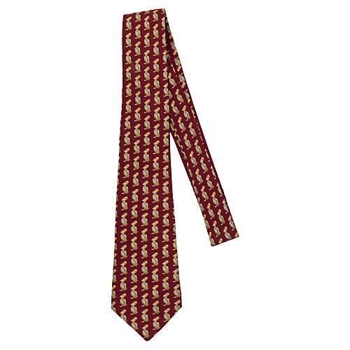 Hermès Burgundy Silk Pelican Tie