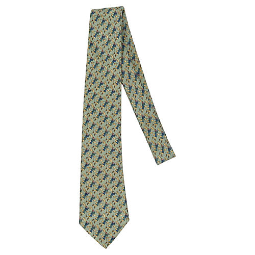 Hermès Light Green Figurine Silk Tie