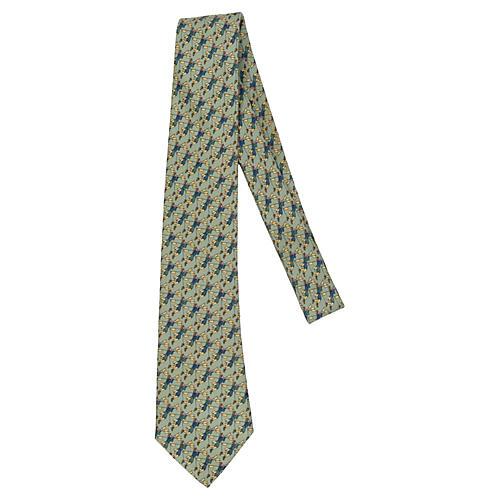 Hermès Light Green Figurine Silk Tie
