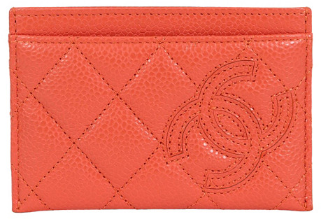 Chanel Orange Caviar Quilted Wallet