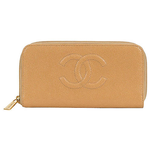 Large Chanel Beige Caviar Wallet