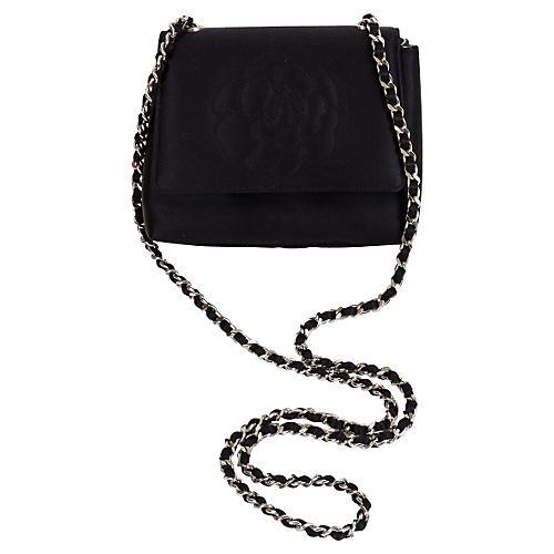 Chanel Black Silver Camellia Cross Body