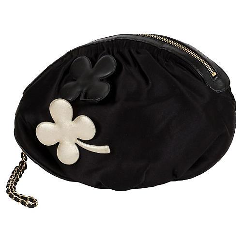 Chanel Black Silk Evening Bag w/ Clovers
