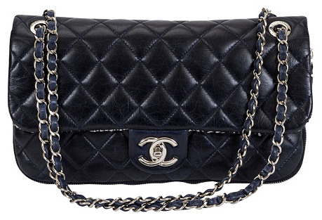 Chanel Navy Tweed Expandable Flap Bag