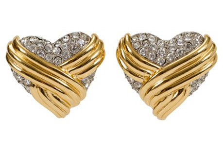 Oversize YSL Rhinestone Heart Earrings
