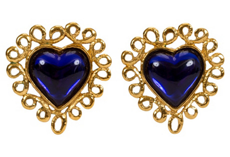 Oversize YSL Blue Heart Earrings