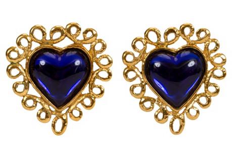 Oversize YSL Blue Heart Earrings