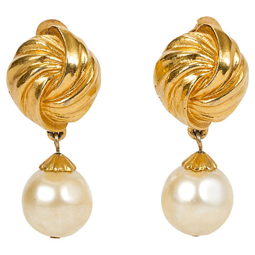 Rykiel Pearl Drop Gold Clip Earrings