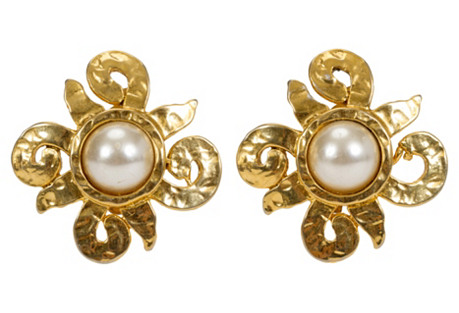 French Gold-Plated Pearl Earrings