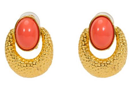 Pauline Rader Hammered Coral Earrings