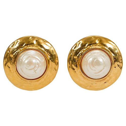 Round YSL Goldtone & Pearl Earrings