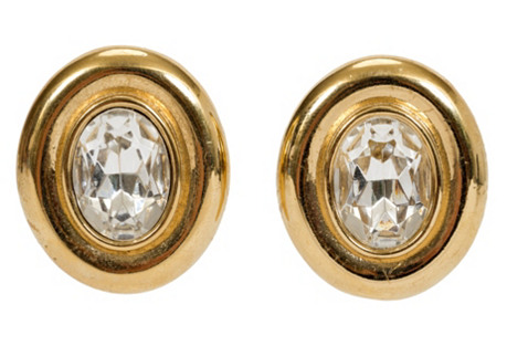 Gold Givenchy Oval Rhinestone Earrings
