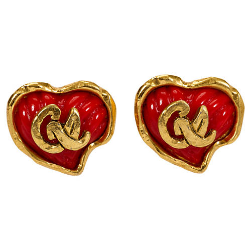 Red Christian Lacroix Heart Earring