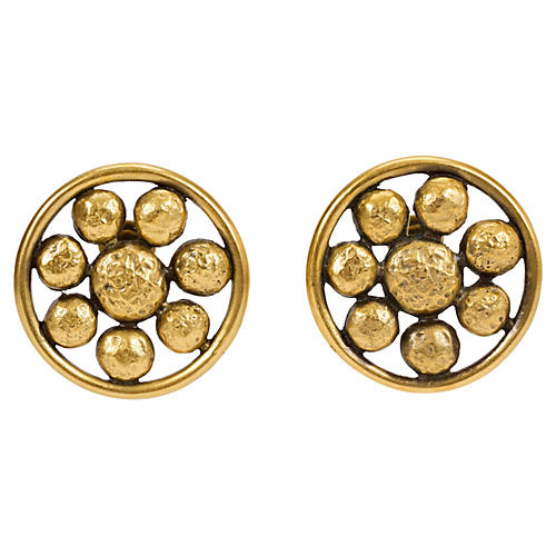 Oversize YSL Disk Clip Earrings