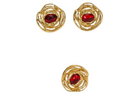 YSL Gold & Red Earrings w/ Brooch