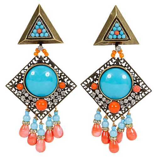 Vrba Turquoise Coral Clip Earrings