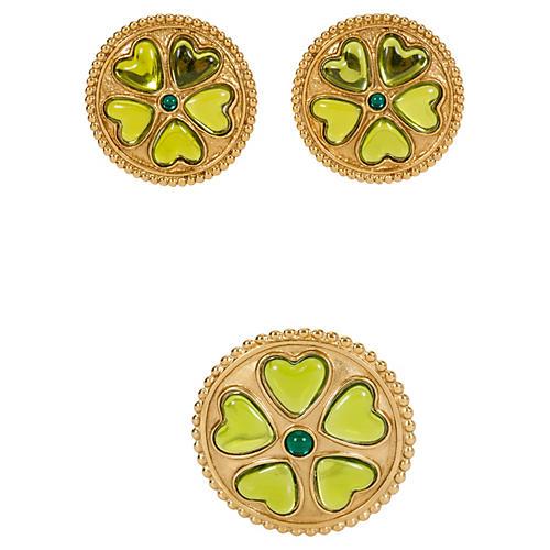 YSL Brooch & Earrings Green Stone Set