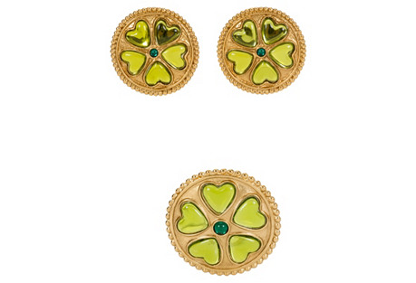YSL Green Stone Brooch & Earrings