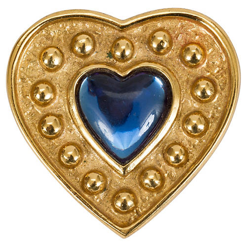 Oversize YSL Blue Stone Heart Pin