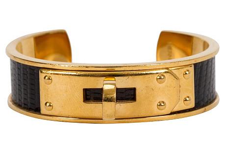 Hermès Black Vintage Lizard Cuff