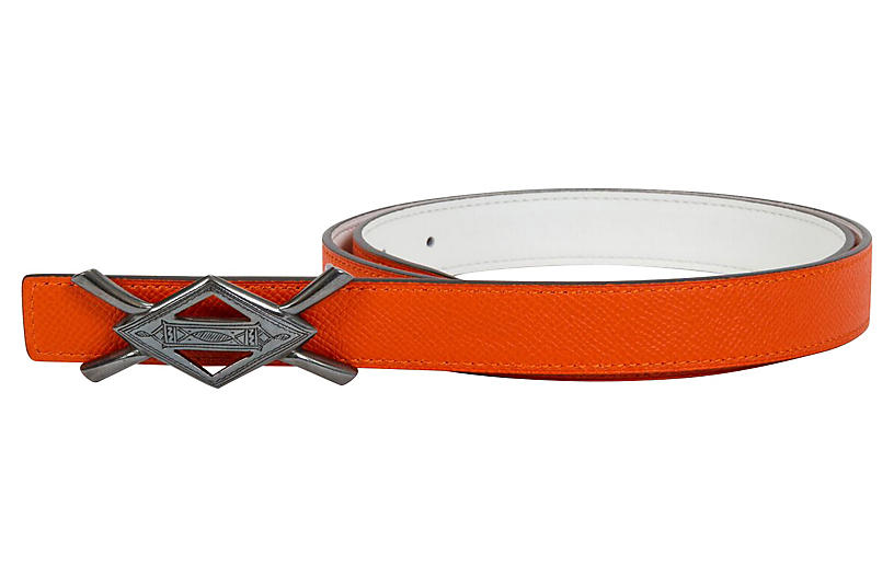 Hermès Rare Tuareg Silver Orange Belt