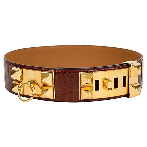 Hermès Rare Croc Collier de Chien Belt
