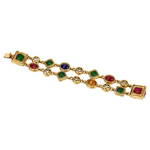 Loewe Double-Chain Stone Bracelet