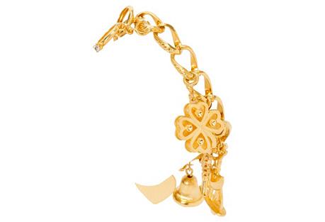 Monet 9-Charm Gold Bracelet