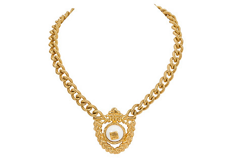 Givenchy Gold Crest Choker Necklace