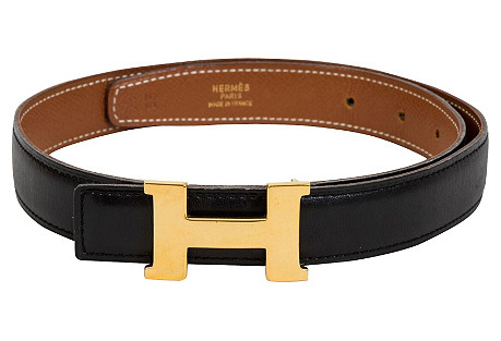 Hermès H Thin Reversible Belt Black Gold