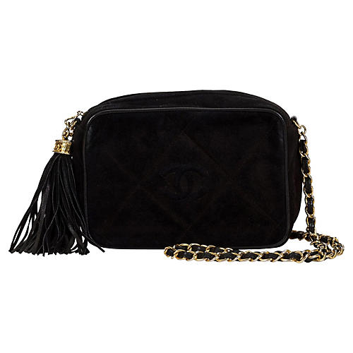 Chanel Black Suede Tassel Camera Bag