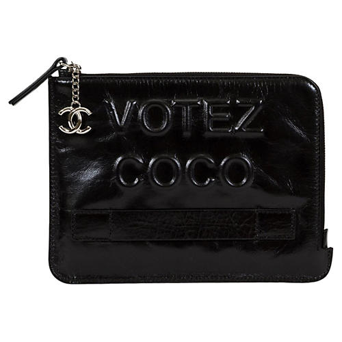 Black Chanel Votez Coco Clutch BNIB