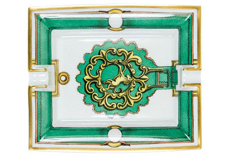 Hermès Green Door Knocker Porcelain Tray