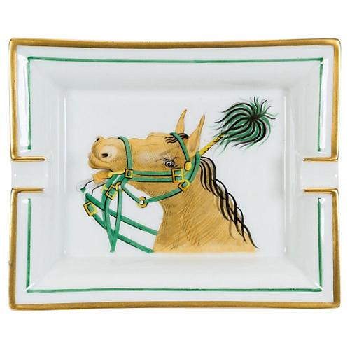 Hermès Green & White Porcelain Tray