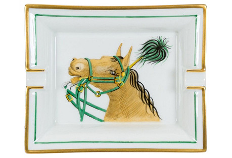 Hermès Green & White Porcelain Tray