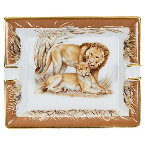 Hermès Lion Brown Porcelain Tray