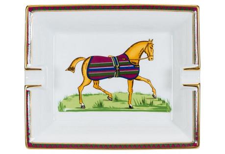 Hermès White Horse Porcelain Ashtray