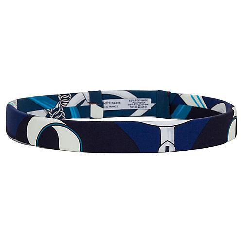 Hermès Blue Pattern Bandeau/Headband