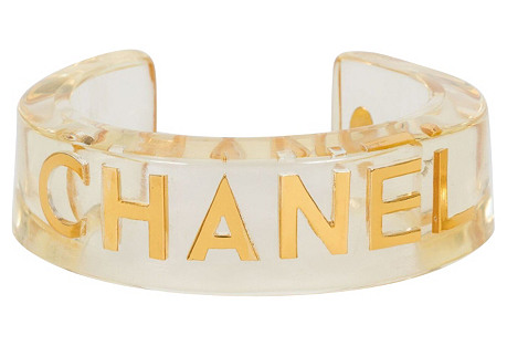 Chanel Rare Clear Lucite Inlay Cuff