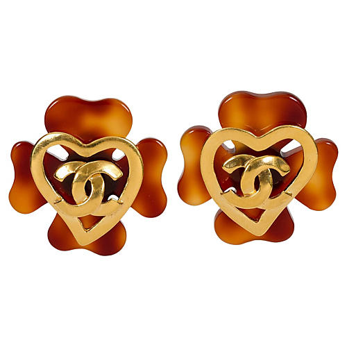 Chanel Faux-Tortoise Logo Earrings, 1993