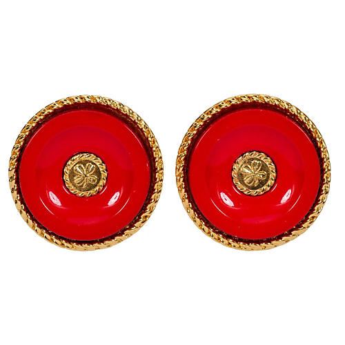 1970s Chanel Red Clover Earrings
